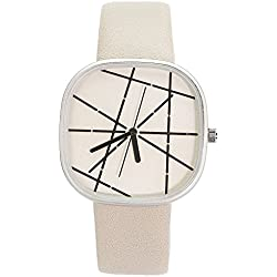 Chronomart Nafisa Large Square Dial Beige Leather Strap Women's Fashion Wrist Watch NA-0061