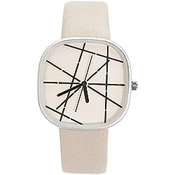 Chronomart Nafisa Large Square Dial Beige Leather Strap Women's Fashion Wrist Watch NA-0061