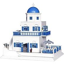 DIY de madera casa de muñecas hecha a mano miniatura Kit Modelo Santorini isla Villa & muebles/caja de música