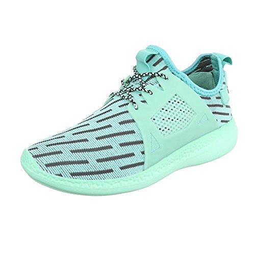 Slipper Damenschuhe Herrenschuhe Leichte Unisex Sneakers Ital-Design Halbschuhe Türkis