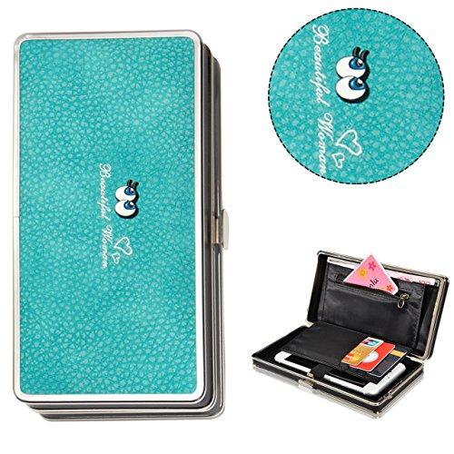 Bonice borsa del portafoglio da donna con la chiusura lampo in pelle PU multifunzione [Grande capacità] Card Slots Case Cover per iPhone 8/8 Plus/iPhone X, iPhone7/7 Plus/6S/6S Plus/6/6 Plus/5/5S/5C/S Occhi-Cover-09