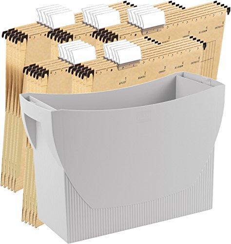 HAN Hängemappenbox SWING, Das mobile Büro. Innovatives Design für 20 Hängemappen, integrierter Köcher (Lichtgrau + 25 Mappen)
