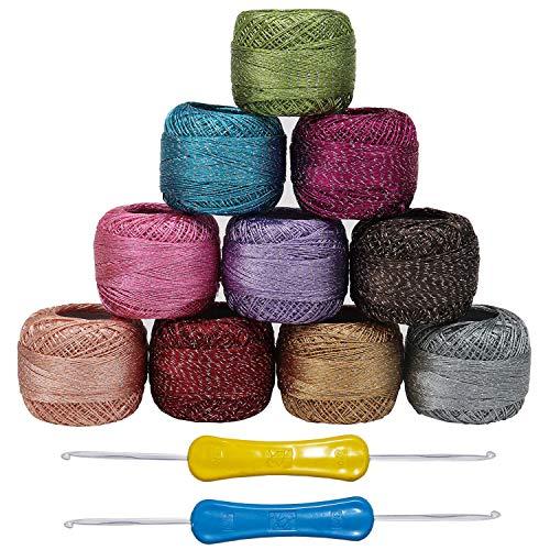 Kurtzy filato uncinetto - 10 filati e 2 ganci - 85 m colori assortiti filato cotone - filato glitter per ricamo - 850 metri totali per principianti e avanzati