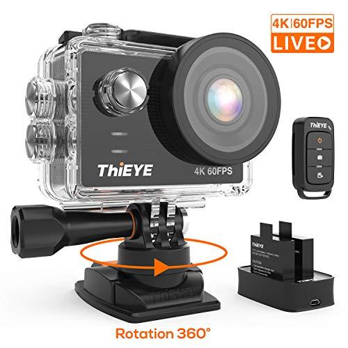 Camera Sport ThiEYE T5 Pro Diffusion en Direct 4K 60fps WiFi 20MP 360°Rotation Stabilisateur Intégré 170°Grand Angle 8X Zoom 60M Etanche UHD Ecran Tactile 2 Batteries 1100mAh Télécommande Accessoire
