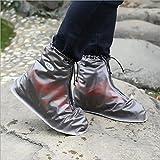 SYSI 1 paio signora maschile sovrascarpe da uomo impermeabili, di alta qualità, anche per scarponcini, da usare in caso di pioggia, antiscivolo, plastica, trasparente, multicolore(EU 34-46) (grigio, 2XL(42-43))