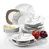 Veweet 'Nikita '24 Set da tavola in porcellana pezzi | Piatti di cereali, piatti da dessert, piatti e zuppe | Servizio di piatti per 6 persone