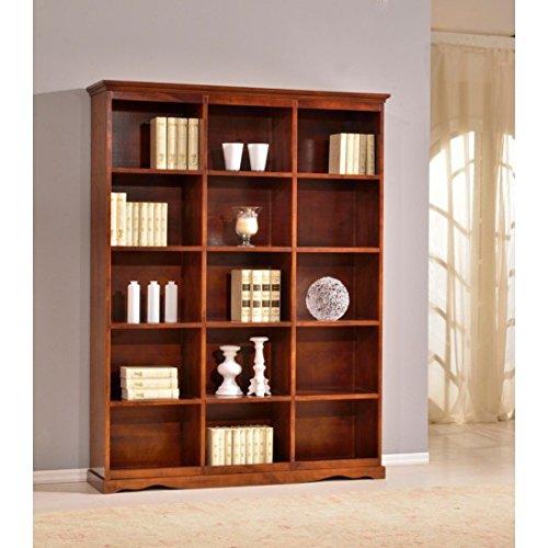 Estense-Bücherregal aus Holz Farbe Walnuss dunkel-L 156p38h 205-592F - Dunkle Walnuss Bücherregal