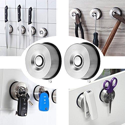 YOHOM 2 Stück Leistungsstark Saugnapf Magnetischer Schlüssel Halter Rack & magnetisch Küche Messer-Halter, abnehmbare Multi Werkzeug Aufhänger, Lagerung Organizer für Metall Utensilien 304 Edelstahl, Oberfläche gebürstet (Holz-küche-messer-halter)