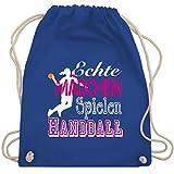 Handball - Echte Mädchen Spielen Handball weiß - Unisize - Royalblau - WM110 - Turnbeutel & Gym...