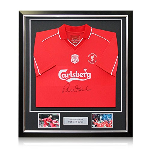 cd8e0ee42e3 Robbie Fowler Front Signed 2001 Liverpool Shirt With Commemorative  Embroidery. In Deluxe Black Frame With Silver Inlay