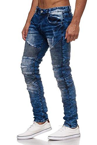 MEGASTYL Biker-Jeans-Hose Herren Stretch-Denim Slim-Fit Stepp-Design Oliv