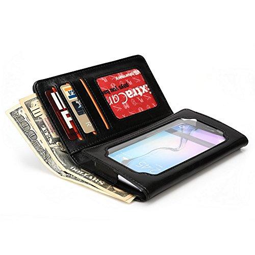 Kroo Portefeuille unisexe avec Xiaomi Redmi 1S/Mi 4Coupe différentes couleurs disponibles universel avec écran de Vue noir - noir noir - noir