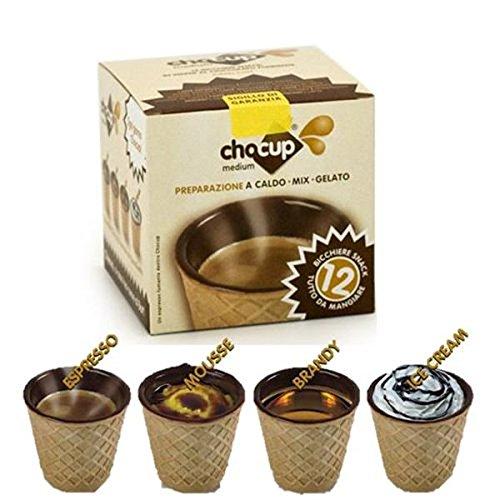 24 Chocup Mini Bicchiere Tazzina Cialda Wafer Cioccolato Fondente per Caffe 60Cc