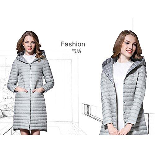 GWELL Elegant Damen Lange Daunenmantel Mit Kapuze Leicht Mantel Daunenjacke Übergangsjacke Grau