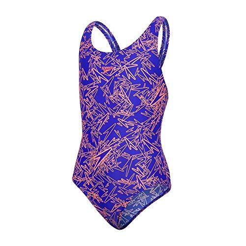 Speedo Tankini Nylon (Speedo Mädchen Boom Allover Badeanzug, Mehrfarbig (Ultrasonic/Fluo Orange), 140 cm (Herstellergröße: 28))