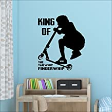 Large Teenage Bedroom Stunt Trick Scooter Wall Sticker Art Fingerwhip Tailwhip, 550mm(h)x470mm(w) Small, Dark Green
