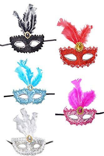 Party Venezianischen Maskenball Masken Mit 5 - Packung set5p One Size (Schwerpunkt Kostüm)
