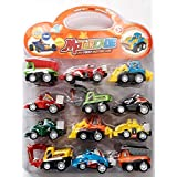 NSinc - Unbreakable ABS Plastic Pull-Back Friction Powered Construction & Multi Utility Vehicle, Automobile Toy Set (Multicolour) - Pack Of 12