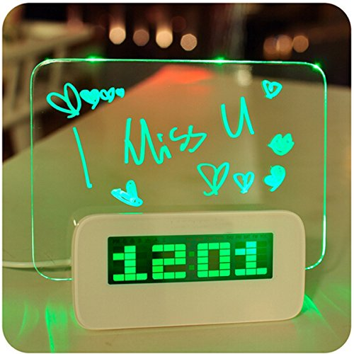ZJstyle® Kreative Desk Clock Digital Alarm Clock Tischuhr löschbare Memoboard Neonlicht Message Board LED-Digital-Wecker mit Thermometer-Kalender-Zeit und Snooze-Funktion (Grünes Licht) Led Message Clock