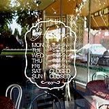 Business ventana horas de tiempo de adhesivo de Custom abierto y cerrado adhesivo Decor vinilo Shop piedra Salon decoración art
