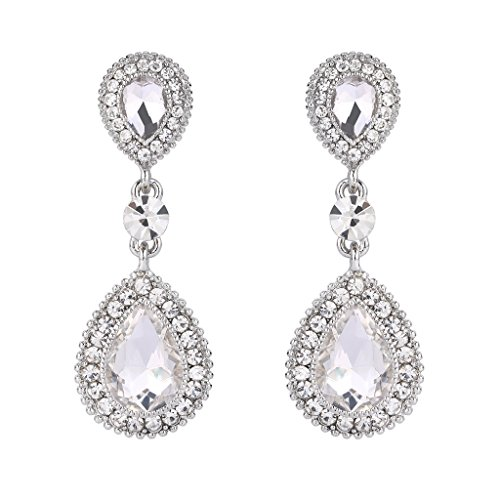 Clearine Damen Elegant Hochzeit Braut Kristall Doppel Tropfen Beaded Dangle Statement Ohrringe Silber-Ton Klar