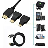 Pruthvik™New 3 In 1 High Definition Multimedia Interface HDMI To HDMI/Mini HDMI/Micro HDMI Cable 1.4V Gold-Plating 1080P HDMI Adapter