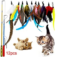 Danigrefinb Teaser Wand Feather Toys for Pet Cats Kitten 12Pcs Teaser Stretchable Play Stick Wand Feather Replacement Head Toy
