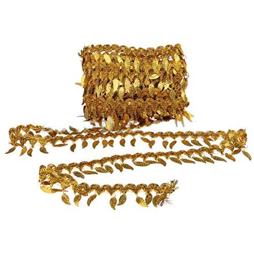 Yalulu 10 Yards Pailletten Stoff Blätter Fransenband Quaste Fransen Fransenborte Spitzenborte Kostüm Quasten Trimmen DIY Tanzen Kleid (Gold)