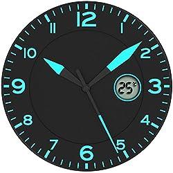 Alba Reloj de Pared Negro/Azul * Con Temperatura