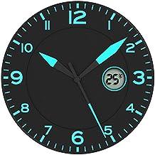 Alba Reloj de Pared Fosforescente Negro/Azul * Con Temperatura