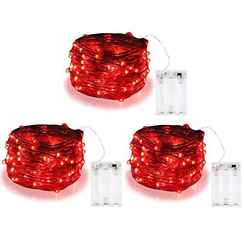 Bolweo, filo di 3m, con 30 luci a led, red, 3 pezzi