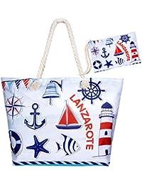 6a0d0cafe22e6 Czemo Große Strandtasche mit Reißverschluss und Innentasche Wasserdicht  Badetasche Einkaufstasche Shopper für Damen