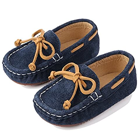Eagsouni® Kid's Suede Leather Slip-On Penny Loafers Moccasins Casual Boat Shoes Flats