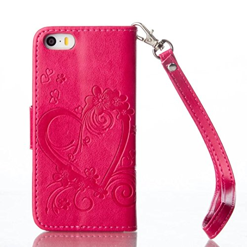 Coque IPhone 5 5S SE,Etui IPhone 5 5S SE,Vandot Housse pour IPhone 5 5S SE PU Cuir Portefeuille Case Cas Skin Swag Smartphone Accessories Super Protection Protecteur D'écran Bumper Couvrir Couverture  Heart-rouge