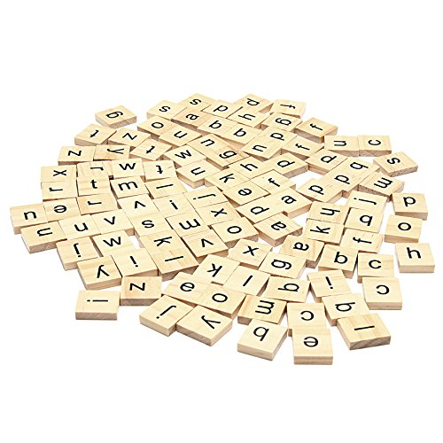 Set of 200 Wooden Scrabble Letters Tiles for Wood Crafts, Arts & Crafts and Scrapbooking Embellishments by Wedding Decor
