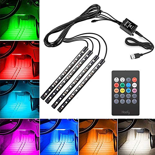 Luci Led Interne Auto, Luci Led Interni Auto Usb,4 Pezzi 48 Led Dc 12 V Multi Color Music Car Ambiente Lights Under Dash Lighting Waterproof Kit ,Sound Active Function And Wireless Ir Remote Contro