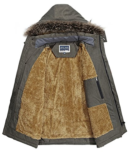 YYZYY Herren Hochwertig Winter Warm Baumwolle Dick Militär mit Kapuze Jacken Mäntel Pelz Pelzkragen Abnehmbare Kapuze Parka Khaki