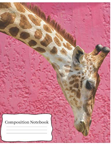 Composition Notebook: Cute Giraffe Notebook/Journal for Kids Animal Lovers to Writing (8.5x11 Inch.) Wide Ruled 120 Blank Lined Pages (Pink&Brown&White Pattern) -