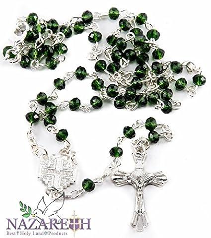 Klein katholischen grün Kristalle Perlen Rosenkranz tragen Halskette mit Metall Kreuz