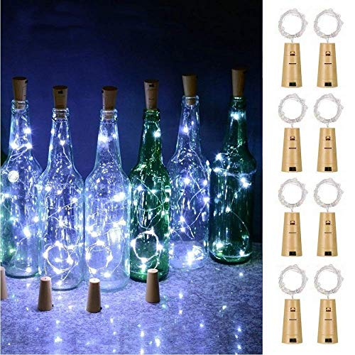 Wine Bottle Lights with Cork, Battery Operated 20 LED Cork Shape Silver Wire Fairy Mini String Lights for DIY, Party, Decor, Wedding Indoor Outdoor (Cool White)