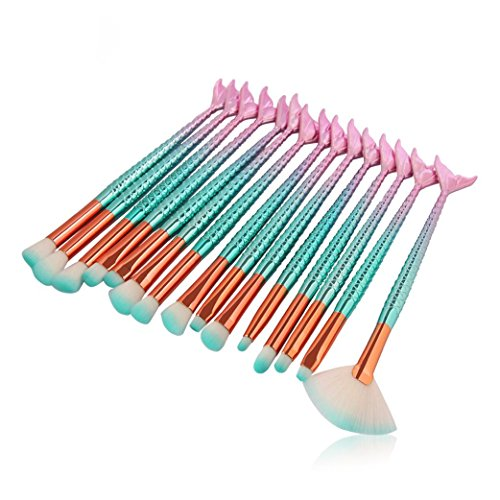 Makeup Brush Set, KEERADS 15PCS Eyeliner Eyeshadow Blending Mermaid Brush Makeup Tools Cosmetic Concealer Brushes Kit
