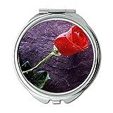 Yanteng Machte Eine Einzelne Rote Rose auf Stein Rosebud-OHS Brieftasche Spiegel, Schminkspiegel,...