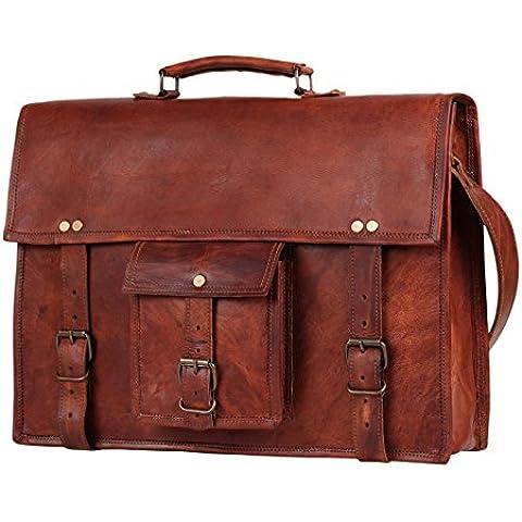 Bolsa de cuero portátil 15Messenger Regalos Hombres Mujeres Él Su Piel Messenger Bag