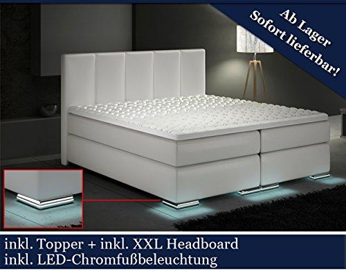 XXL Boxspringbett Designer Boxspring Bett LED (Weiß, 200x200 ...