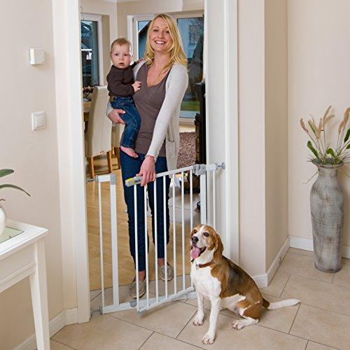 Hauck 597026 Open N Stop Treppen-/Tür- schutzgitter für Kinder, Hunde und Katzen, Befestigung ohne Bohren, zum Klemmen, mit Tür, verstellbar und erweiterbar bis 123 cm, 75-81 cm, weiß/grau - 4