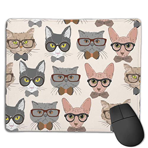 Cats Glasses Novelty Gaming Mouse Mat 3D Printed Non-Slip Smooth Rubber Mousepad Pinpoint Accuracy (7''X 8.7'')