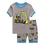 Showu Junge Baumwolle Kurzarm T-Shirt und Shorts Cartoon-Muster Bekleidungsset Set (Bagger, 4-5 Jahre)