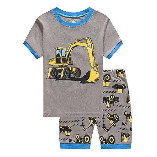 Kostüm Bagger - Showu Junge Baumwolle Kurzarm T-Shirt und Shorts Cartoon-Muster Bekleidungsset Set (Bagger, 4-5 Jahre)