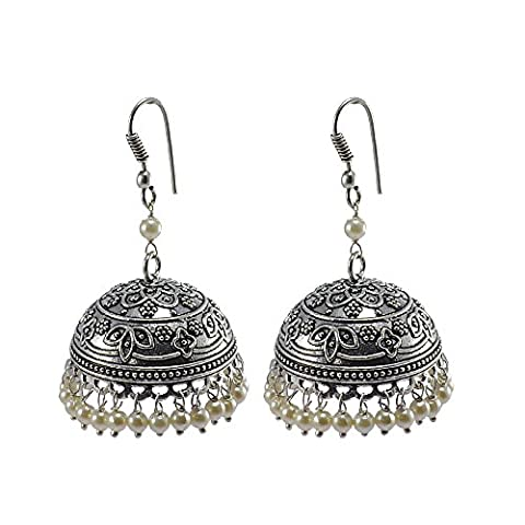 Silvestoo India Emerald Pearl Jhumka-Indian Jewellery-Traditional Earrings PG-106699