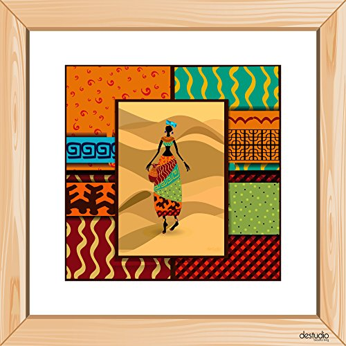DeStudio African Girl With Pot Light Brown Small Wall Painting Stickers (Wall Covering Area : 30cm X 30cm )-13956  available at amazon for Rs.79